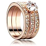 18k 3 Round Rose Gold Plated Ring with Austrian crystals Size 7