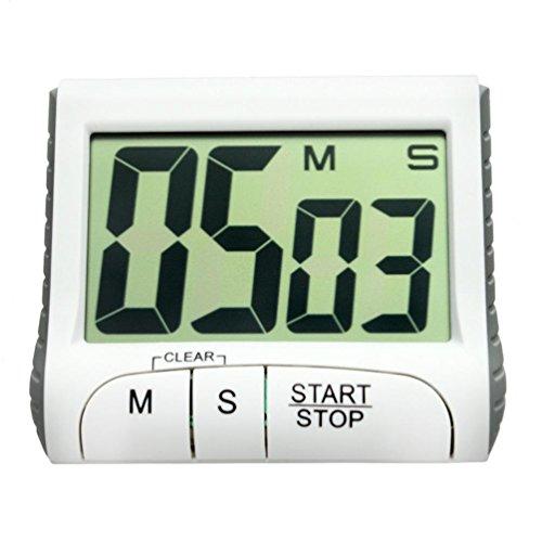 SEWORLD Digital Kitchen Timer, Big Digits Screen, Loud Alarm, Magnetic Backing, Stand, White(color)