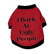Chien Apparel Vêtements, Malloom Chats Vêtements Été T Shirt Sweatshirt pour Animaux de compagnie Chiots Petits Grands Chiens (S, Rouge)