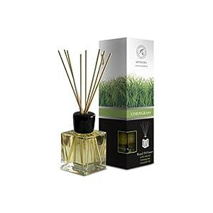 Raumduft Diffuser Lemongrass – Zitronengras 200ml – Glas – mit Naturreines Ätherisches Zitronengrasöl – Intensiv Raumduft – 0% Alkohol – Raumduft-Set zum Aromatisieren