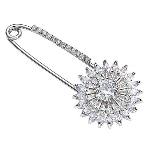 JSDDE Brosche Anstecknadel,Zirkonia Brosche Clip mit Sicherheitsnadel Schmucknadel Klassisches Accessoire für Damen (Model#3 Sonnenblume Form)