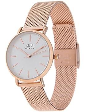Leslii Premium Watch Edelstahl Meshband Rosé | moderne Damen-Uhr | elegant modern zeitlos
