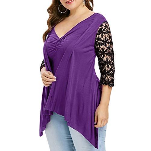 Aiserkly Damen Half Sleeve V-Ausschnitt Plus Size Lace Twinset Asymmetrisches T-Shirt ()