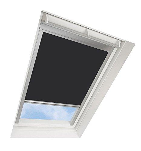 Darkona Dachfensterrollo für VELUX-Dachfenster - Verdunkelungsrollo - Zahlreiche Farben/Zahlreiche Größen (SK06, Schwarz) - Silberner Aluminiumrahmen