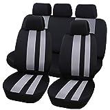 Fundas protectoras universales para asientos de coche de Hamimelon, conjunto completo, en gris, línea vertical