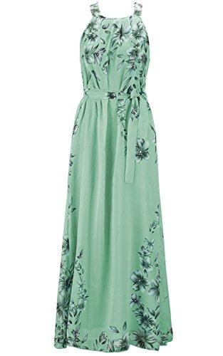 BestWahl Damen Chiffonkleid Cocktailkleid Abendkleid Ballkleid Sommer Maxi Kleider Lange Sommer Vintage Kleider (EU 38, Grün)