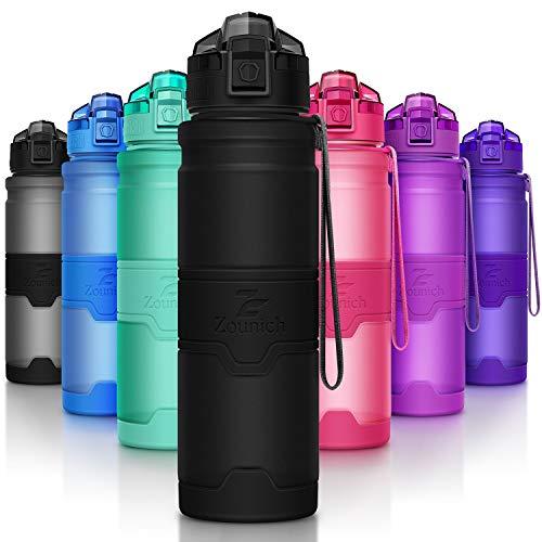 ZOUNICH Trinkflasche Sport BPA frei Kunststoff Sporttrinkflaschen für Kinder Schule, Joggen, Fahrrad, öffnen mit Einer Hand Trinkflaschen Filter, Schwarz, 32oz/1000ml