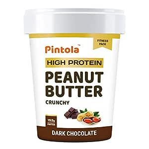 Pintola HIGH Protein Peanut Butter (Dark Chocolate) (Crunchy, 510g) | 30% Protein | High Fibre | NO Salt