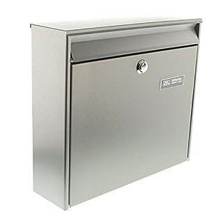 BURG-WÄCHTER Edelstahl-Briefkasten mit Öffnungsstopp, A4 Einwurf-Format, Borkum 3877 Ni, Edelstahl