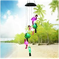 ANZOME Changing Color Solar Powered Plastics Flamingo Tree Wind Chime Wind Moblie LED Light, Spiral Spinner Windchime Portable Outdoor Chime for Patio, Deck, Yard, Garden, Home,