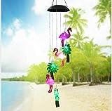 ANZOME Cambio de color Plásticos energizados con energía solar Flamingo Árbol Viento Carillón Viento Luz LED móvil,Spiral Spinner Windchime Campana portátil al aire libre para patio Patio Jardín Hogar