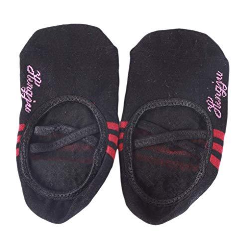 Missoul Ballet Socks Cotton Non Slip Skid Pilates Barre Socks Cross Round Head Yoga Socks for Women (Black)