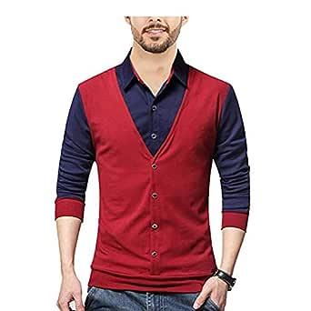 SEVEN SEA Maroon Wine Black Waist Coat t-Shirts (XS)