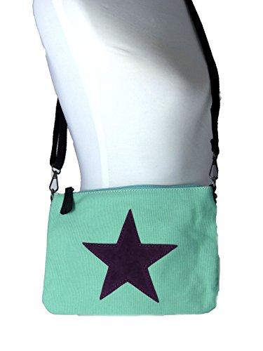 Umhängetasche Canvas mit aufgenähtem Stern - Maße 27 x 19 cm - Damen Mädchen Tasche mit verstellbaren Schulterriemen - neue Frühjahrs Farben mint/brombeere