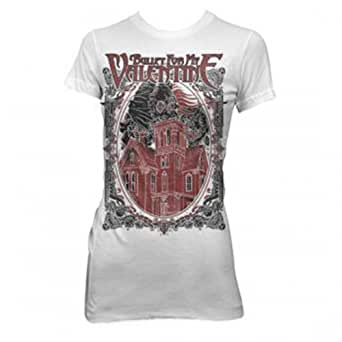 Bravado Bullet For My Valentine Skull House Juniors Tunic T-Shirt-XXL - White - XX-Large
