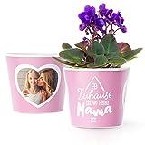 Facepot Geschenk für Mama - Blumentopf (ø16cm) zum Geburtstag, Muttertag oder Weihnachten mit Bilderrahmen für Zwei Fotos (10x15cm) - Zuhause ist wo Meine Mama ist