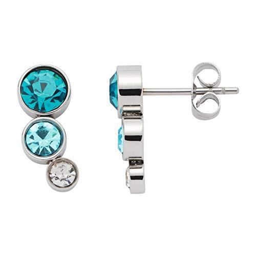 JEWELS BY LEONARDO Damen-Ohrstecker Oceano, Edelstahl mit blauen und klaren Glassteinen, CLIP & MIX System, Größe (B/H/T): 15/6/15mm, 016228 -