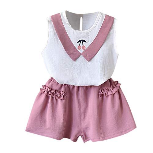 Prinzessin Kostüm Kind Kitty - LIGESAY Kleinkind Kinder Baby Mädchen Kleidung Set Outfits Kleidung Set Kirsche Weste Shirt Tops + Shorts Baby Born Schneeanzug Baumwolle Babymode Prinzessin Kitty Kappe