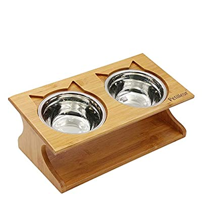 Petilleur Wooden Pet Bowls Elevated Pet Bowls with Stand for Cats and Dogs by Petilleur