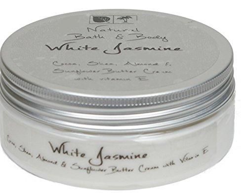 Kakaobutter Creme Handcreme Gesichtscreme WEISSER JASMIN 200 ml mit Sheabutter geeignet auch für sehr trockene Haut - Granatapfel-parfüm Öl