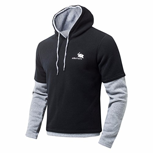 Men's Cotton Fake Two Full Sleeve Hip Hop Casual Hoodies Black