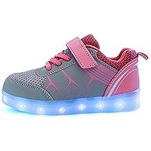 DoGeek Zapatos Led Niños Deortivos Para 7 Color USB Carga LED Luz Glow USB Flashing Zapatillas niñas (Elegir 1 tamaño más grande)