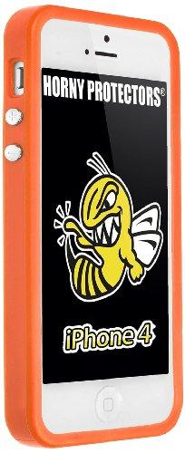 Horny Protectors Bumper für Apple iPhone 4 rosa/weiß mit Metallbutton orange