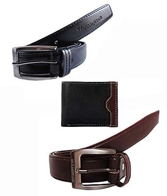 Elligator Black Self Textured & Brown Formal Belt With Wallet Combo