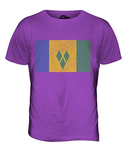 CandyMix St. Vincent Und Die Grenadinen Kritzelte Flagge Herren T Shirt Violett