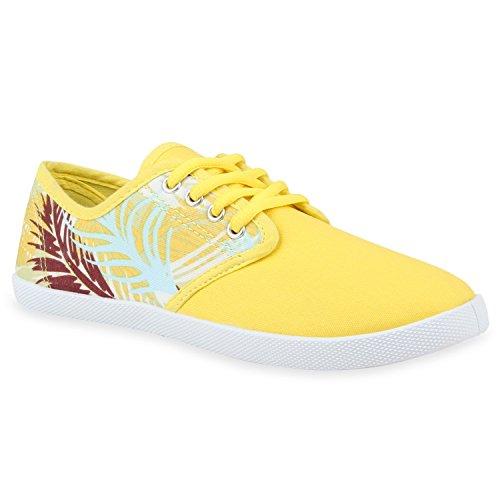 Damen Sneakers Low Blumen Freizeit Turnschuhe Prints Schnürer Gelb