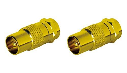 Sat-Fox Sat Antennenadapter Kabel auf Sat Adapter Set 2 Stück F-Stecker auf IEC-Stecker Kupplung Verbinder Koaxial Adapter Sat Kabel