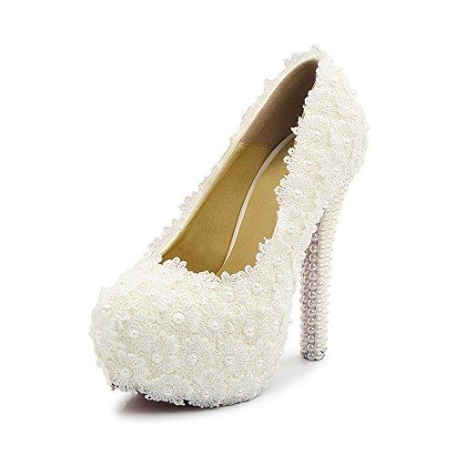 Damen Pumps weiße Spitze Plattform Absatz mit Perlen Braut Hochzeit Weiß Asiatisch 38/ EU 37,5