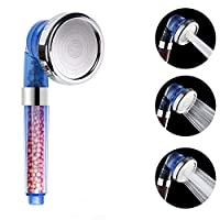 VEHHE Shower Head Powerful Flow with Beads Filter Pressure Boosting Shower Head Spray with 3 Modes Water Saving Bathing for Adults Children Pets Home and Gym Use (Blue)