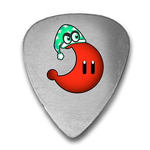 Moon With A Night Cap Videospiel-Parodie, lustig, niedlich, 3D-Druck, Gitarre und Bass, Plektrum, Geschenk zur Wahl der Mondfarbe, silberfarben rot -