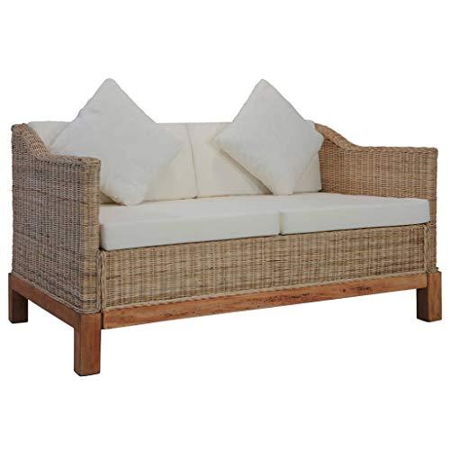 vidaXL Sofa 2-Sitzer mit Auflagen Rattansofa Loungesofa Sitzmöbel Wohnzimmersofa Rattanmöbel Designsofa Korbsofa Zweisitzer-Sofa Natur Rattan