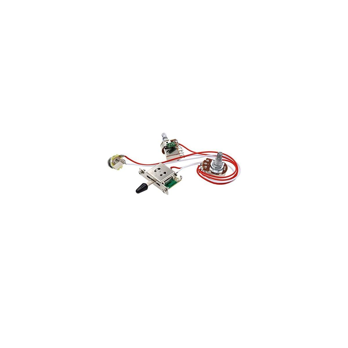 41K5BKJisbL. SS1200  - SeaStart- Kit de cableado de Guitarra eléctrica (1 Volumen, 1 tonelada, 3 Interruptor, 500 K, 1 Juego de Toma de potenciómetro)