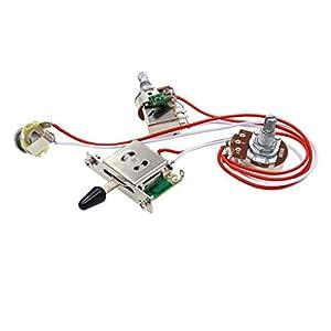 SeaStart- Kit de cableado de Guitarra eléctrica (1 Volumen, 1 tonelada, 3 Interruptor, 500 K, 1 Juego de Toma de…