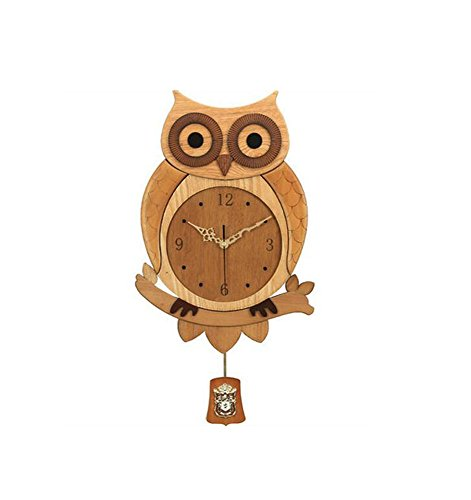 GY Reloj de pared: creativo reloj de pared con búho, reloj de pared de madera personalizado, moderna y silenciosa mesa de cuarzo, comedor, sala de estar, decoración del hogar, reloj de pared artesanal