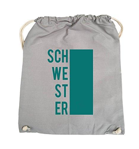 Comedy Bags - SCHWESTER - BLOCK - Turnbeutel - 37x46cm - Farbe: Schwarz / Pink Hellgrau / Tuerkis