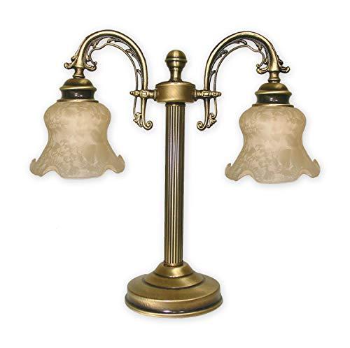 Geschmackvolle Tischleuchte Messing Beige Jugendstil E27 bis 60W 230V mit Schalter Stahl Glas Nachttischleuchte Flur Wohnzimmer Esszimmer Lampe Leuchte innen