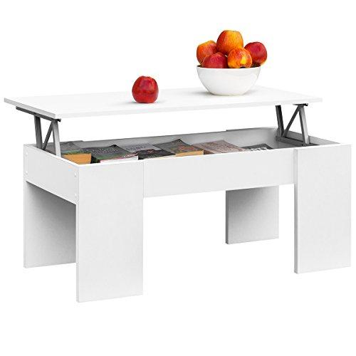 COMIFORT Table Basse relevable Moderne Chevet de café Salle à Manger ou Salon, 1,04x 49,6x 44,6/52 Blanc