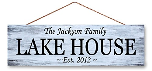 Hanging Wooden Sign Custom Name See-Haus, etablierten Datum Schild, Lake House Decor 14x 38,1cm
