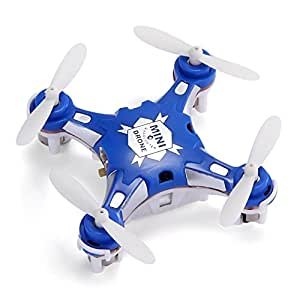 FQ777-124 Micro Drone 4CH 6Axis Gyro Pocket Quadcopter Switchable Controller CF Mode One Key To Return 3D Roll MAV RTF (Bleu)