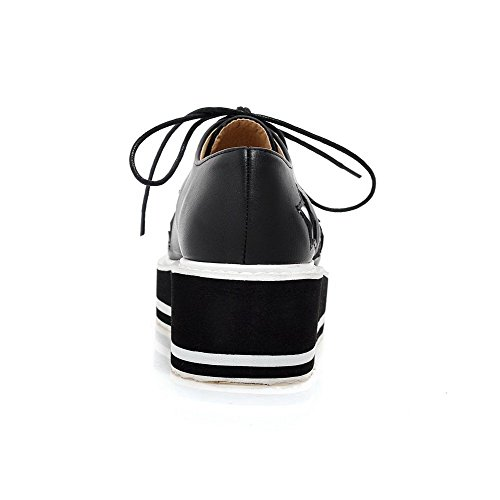 VogueZone009 Femme Matière Souple Couleurs Mélangées Lacet Carré à Talon Correct Chaussures Légeres Noir