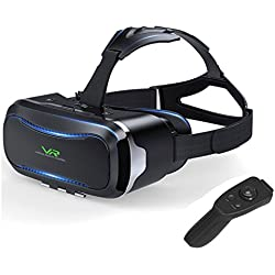 VR Brille,VR Headset,3D VR Brille, Virtuelle Realität Headset ,Virtual Reality Brille Headset für 3D Filme und Spiele, Brille Video Movie Game Brille 3D Virtual Reality Glasses With Bluetooth Controller ,Kompatibel mit 4 ~ 6 Zoll Smartphones,für iPhone 7 7s / 6 6sPlus ,Samsung S7 S8 / Galaxy S7 Edge, HUAWEI (Schwarz)
