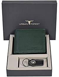 Urban Forest Oscar Green Leather Wallet And Keyring Combo Gift Set For Men - Men's Wallet Combo