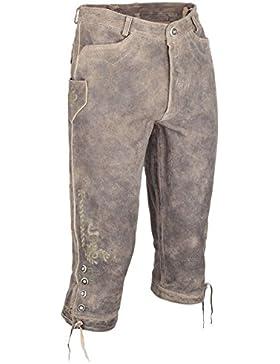 Herren Almsach Kniebundlederhose ´used Look` mit Stickerei hellbraun, hellbraun,