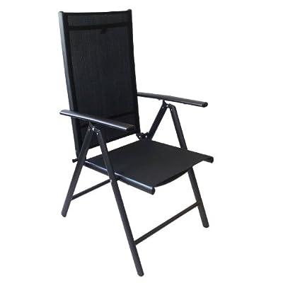2 Stück Aluminium Gartenstuhl 7-Positionen Hochlehner Positionsstuhl 2x1 Textilenbespannung Schwarz