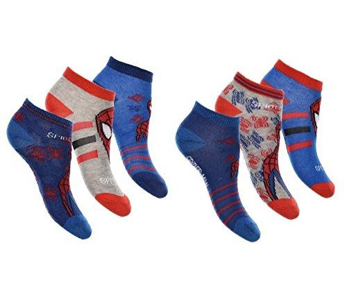 Jungen Sneaker Socken Kinder Füßlinge Spiderman 6 Paar 23-26 / mehrfarbig (Herren-socken Spiderman)
