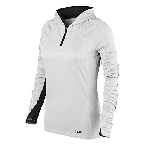 TCA Damen Leichtes Lauf-Shirt Energy - Kragen mit Kapuze und Reißverschluss - Cool Grey (Grau)/Schwarz - M